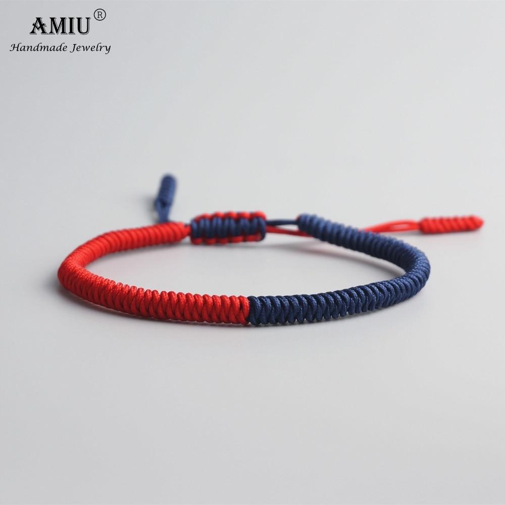 AMIU Tibetan Buddhist Lucky Charm Tibetan Bracelets & Bangles For Women Men Handmade Knots Colorful Rope Christmas Gift Bracelet