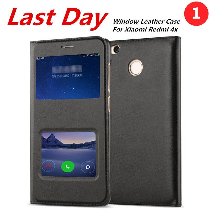 Xiaomi Redmi 4X Case Leather Flip Cover Luxury Capa Coque Xiao Mi Red Rice 4X Double Window Couro Fundas 4 X Phone Bag Cases
