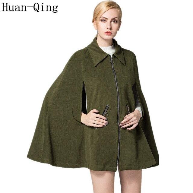 c4d03fb396b92 New Autumn Winter Runway Women s Vintage Zipper Loose Cloak Trench Coats  Fashion Sleeveless Pockets Cape Coat