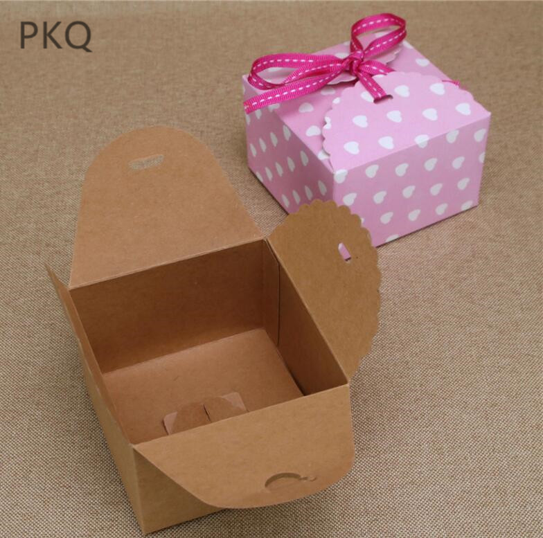 100pcs lot Vintage Retro Mini Kraft Paper Box Wedding Gift Favor Boxes Party Candy Packaging Box
