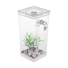 خزان حوض أسماك صغيرة مع LED ضوء المصباح الأسماك القتال اسطوانة التنظيف الذاتي خزان الأسماك الصغيرة الاكريليك مكتب حوض السمك