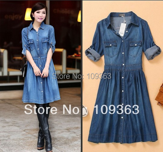 Plus sizes New Fashion Ladies' blue denim dress,Slim women's ...