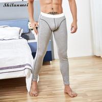 겨울 열 속옷 Pantalon 남성 블랙 그레이 열 탄성 긴 존스 블루 녹색 니트 따뜻한 섹시한 브랜드 남성 바지