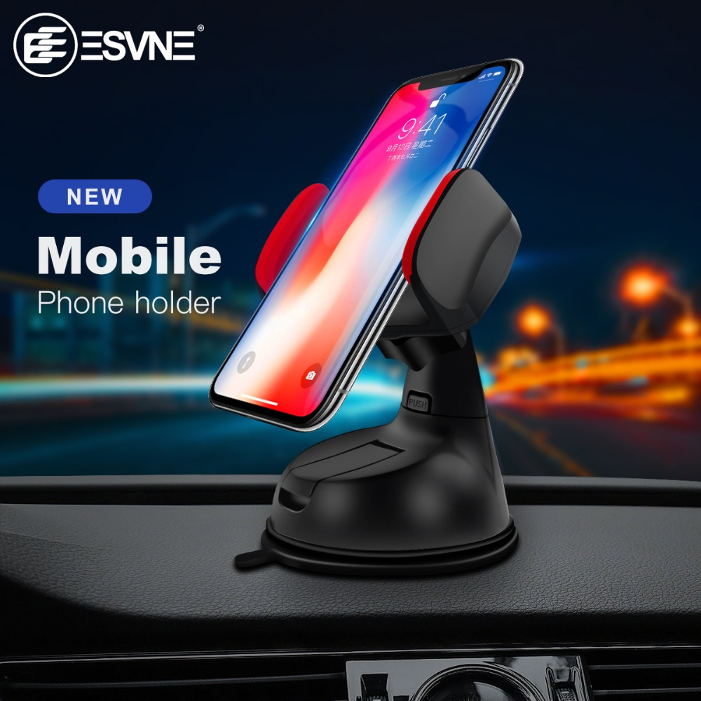 Image 5 - ESVNE Universal Windshield Mount Car Phone Holder for iPhone 8 6 7 X cell Mobile Phone Car Holder stands support cellular phone-in Phone Holders & Stands from Cellphones & Telecommunications