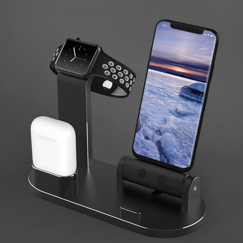Multi-function Aluminum Alloy Charger Charging Bracket for Apple Watch /AirPods/ iphoneX/8/7 Mobile Phone