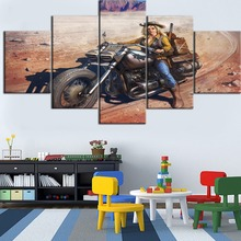 Hot Sell HD Printed 5 Pieces Painting Framed Ride Motorcycle Girls Poster Trip To The Desert Type Home Decor Living Room
