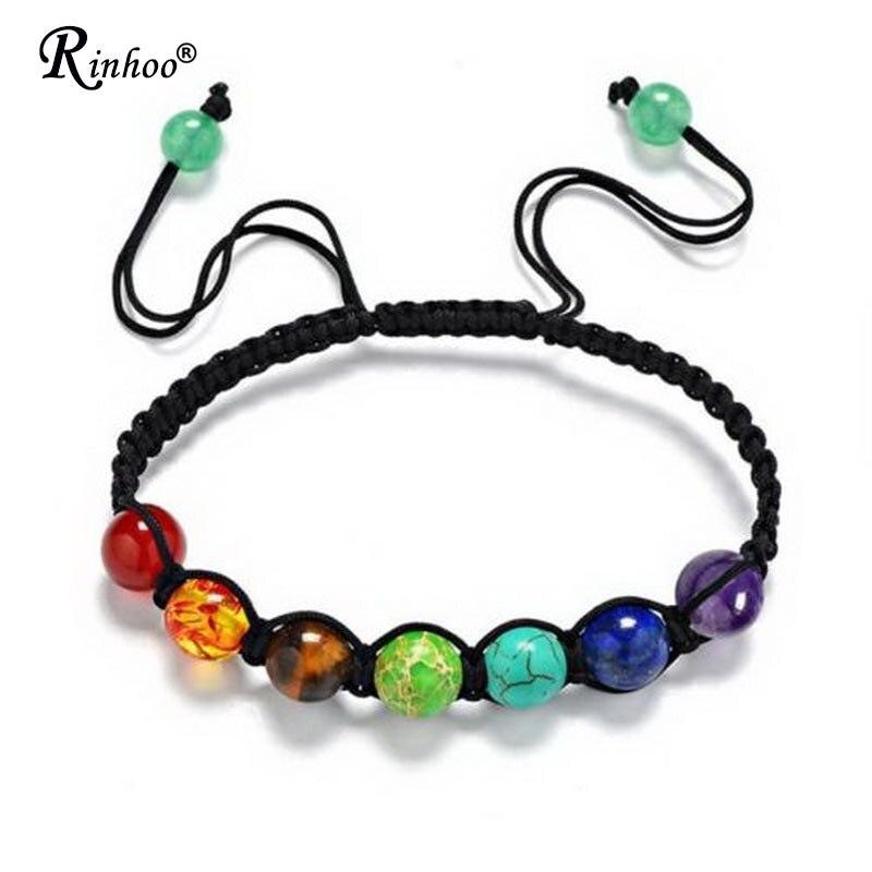 Rinhoo 7 Chakra guérison Yoga Reiki prière perle pierres Balance perlée chaîne Bracelet tressé Bracelet réglable bijoux pour les femmes