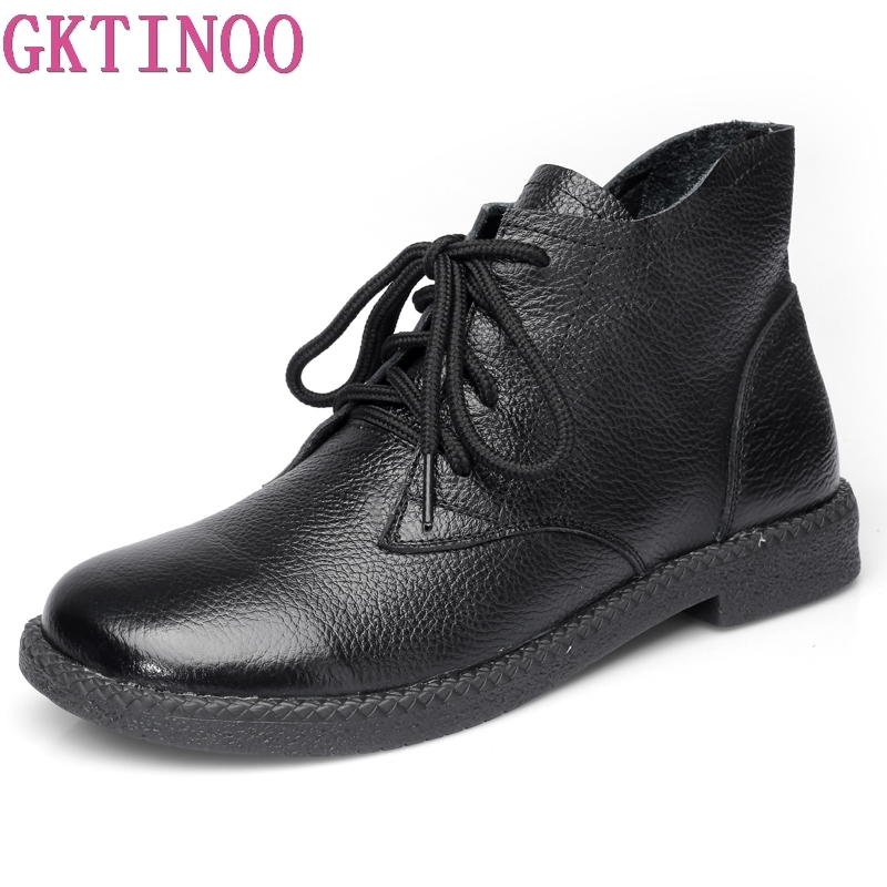 GKTINOO Ankle Boots For Women Genuine Leather Casual Shoes Booties Woman 2018 Lace Up Plus Size Flat Boots Ladies