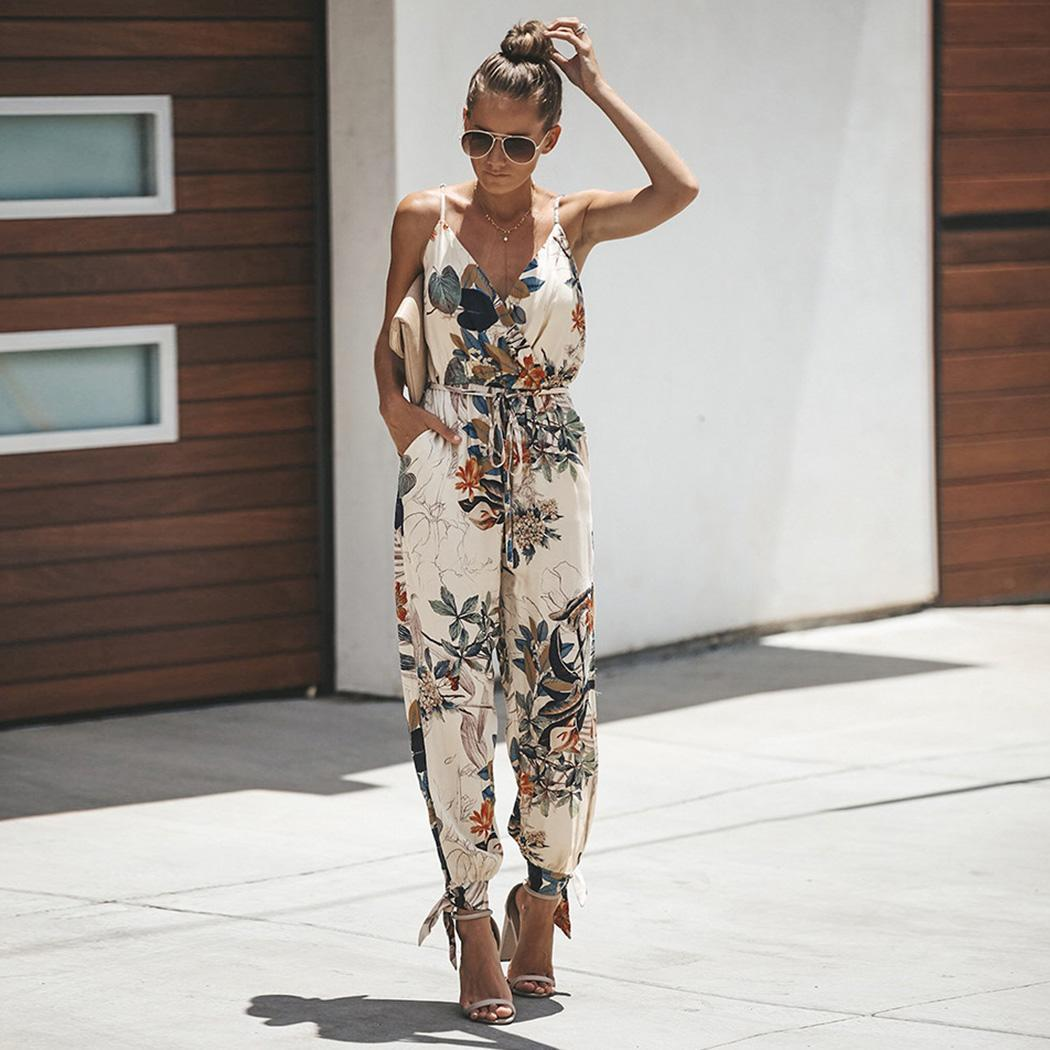 Women Casual V Neck Spaghetti Strap Summer Side Split Floral Jumpsuit Fashion Causal Full Length(China)