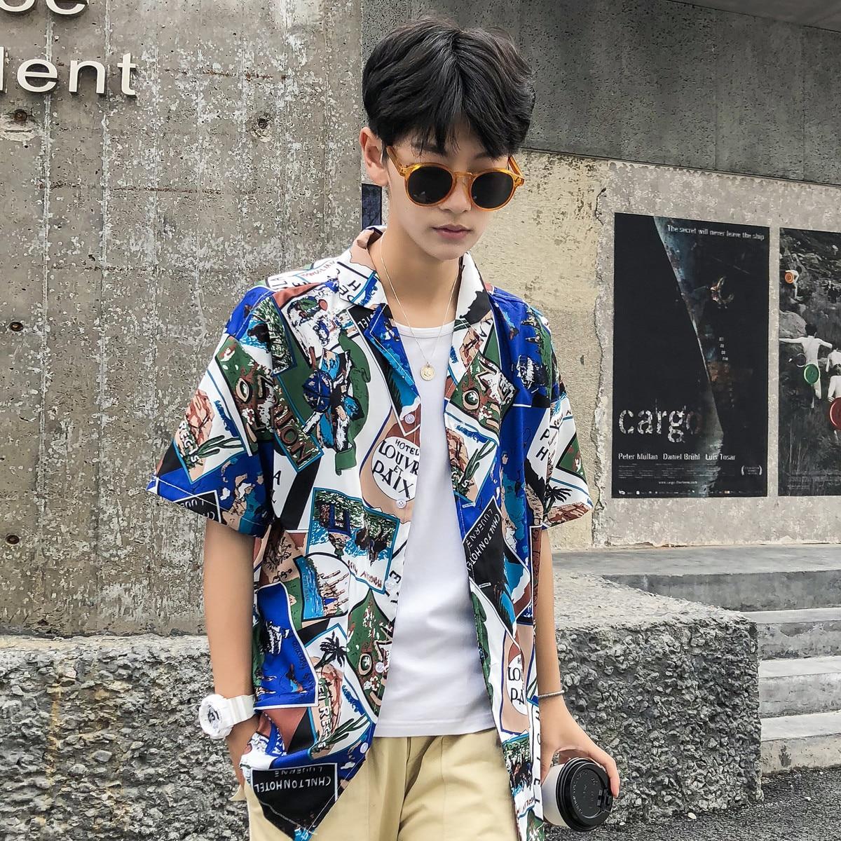 Casual Funny Cartoon Lapel Slim Thin Short Sleeve Beach Men Hawaiian Shirt 2018 Summer Flower Chiffon Male Fashion Loose Shirts