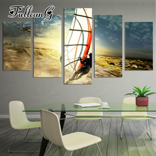 FULLCANG 5pcs diy diamond painting Surfers full drill 3d cross stitch mosaic embroidery multi-picture decor gift G1188