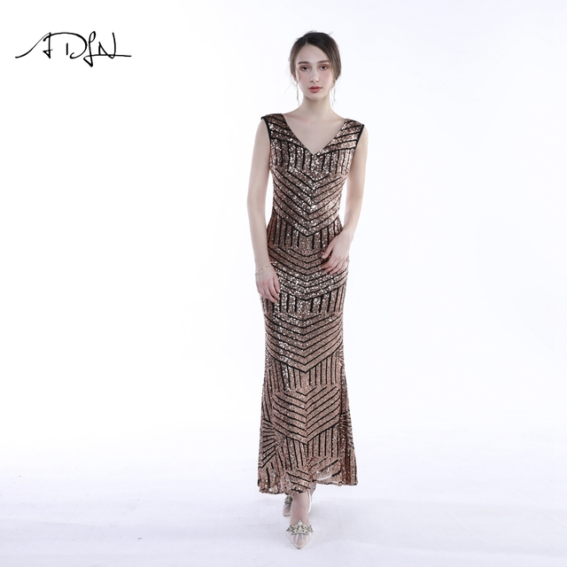 ADLN Sparkly Gold Sequin Evening Dresses Long Mermaid V-neck Sleeveless Sexy Party Gown