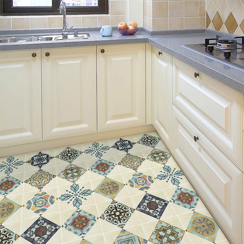 European Style Retro Kitchen Floor Tile Renovation Sticker