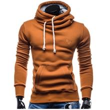 ФОТО hooded men's 2017 fashion brand male long sleeve hoodie sweatshirt men's slim solid color harness men's hoodie sportswear xxl