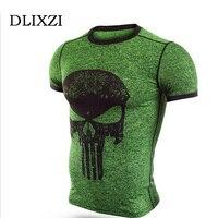 DLIXZI marke superhero männer compression enge t-shirt 3d print punisher anime t-shirt sommer mma rashguard bodybuilding tops