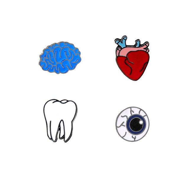 Hot Fashion Personality Cartoon Creative Brain Eye Heart Teeth Enamel Brooch Pins Collar Denim Shirt Hat Decoration Pin Button