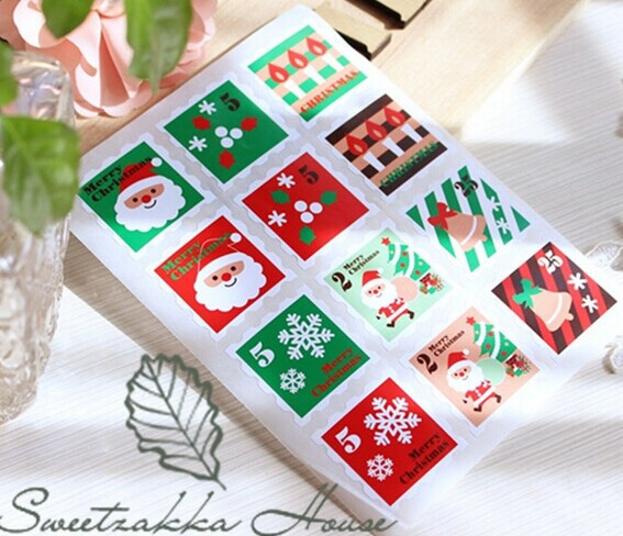 New product 120pcs lot merry christmas stickers square for Application box decoration