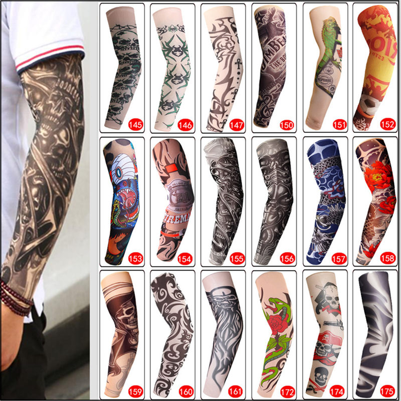 Temporary Fake Tattoo Sleeve Men Women Arm Warmer Designs Summer Sunscreen Arm Sleeves Cover Tattoos Sun UV Protection Elastic