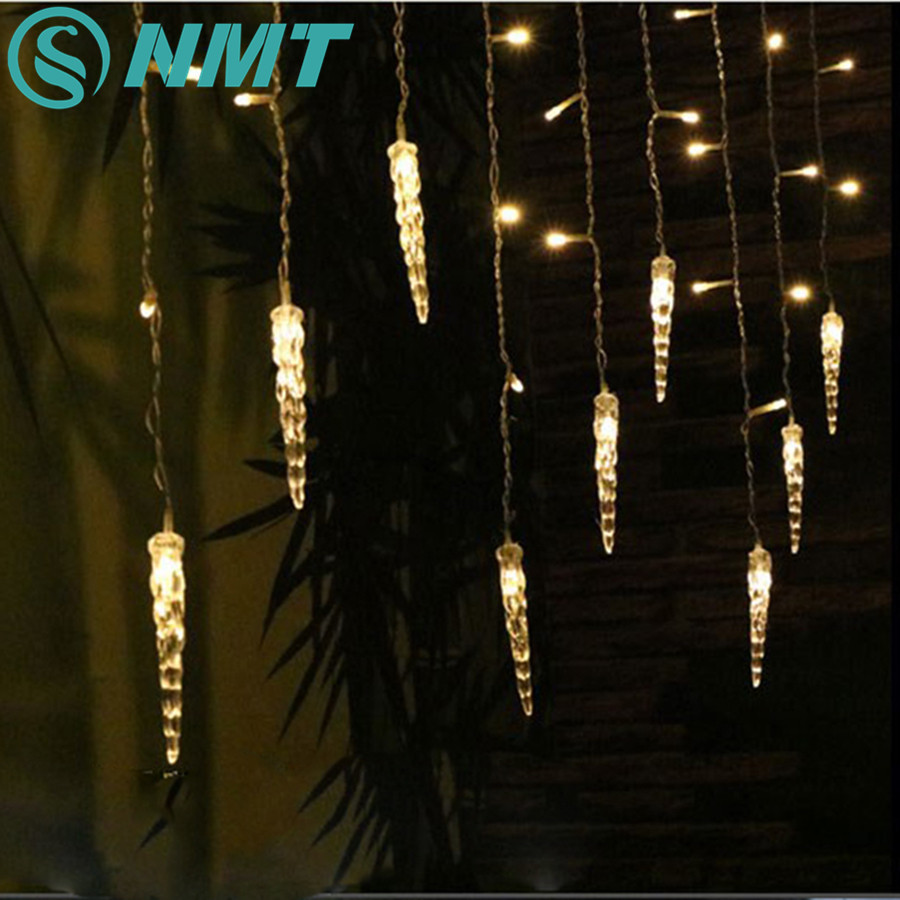 96 LEDs Icicle Fairy String Lights 3.5M Curtain Window Lights Waterfall Lamp Christmas Tree Holiday Wedding Garlands Decorations цены