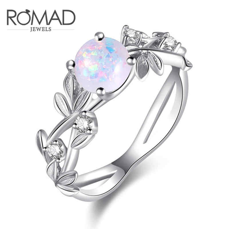 ROMAD Flower Finger Rings Stainless Steel Rings for Women Opal Crystal Middle Ring Fashion Jewelry Wholesale Dropship R4