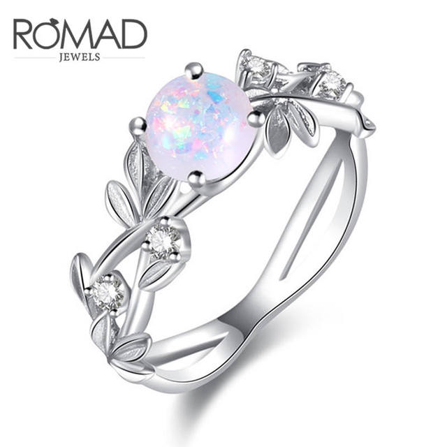 ROMAD Flower Finger Rings Stainless Steel Rings for Women Opal Crystal Middle Ri