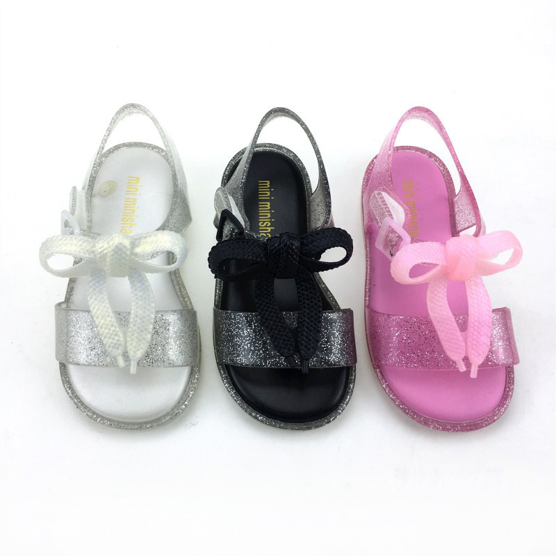 Girls Sandals 2019 New Fashion Girls Bow PVC Jelly Sandals Non slip Beach Shoes|Sandals| |  - title=