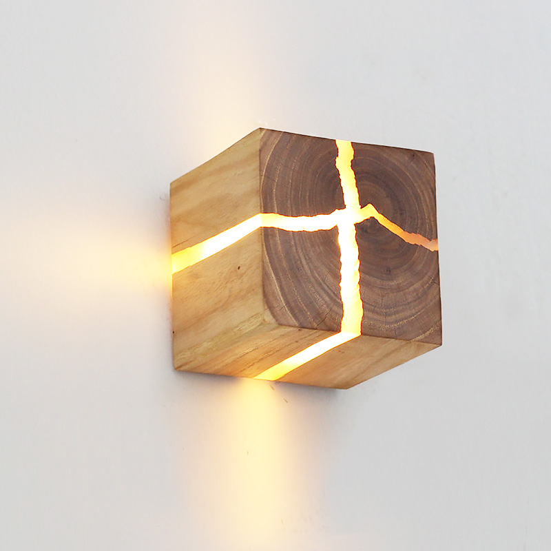 Crack wooden wall lamp LED bedroom bedside lamp hallway Home light indoor decorative night light G4 wood lamps mx5101705|Wall Lamps| |  - title=