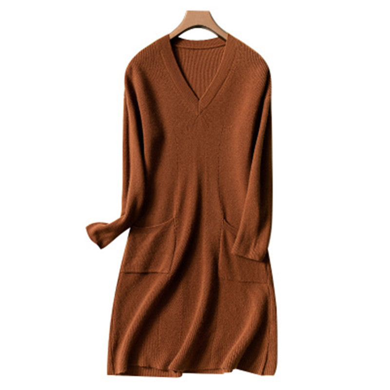cashmere wool blend knit women fashion Vneck irregular hem pullover sweater dress beige 4color S 2XL retail wholesale