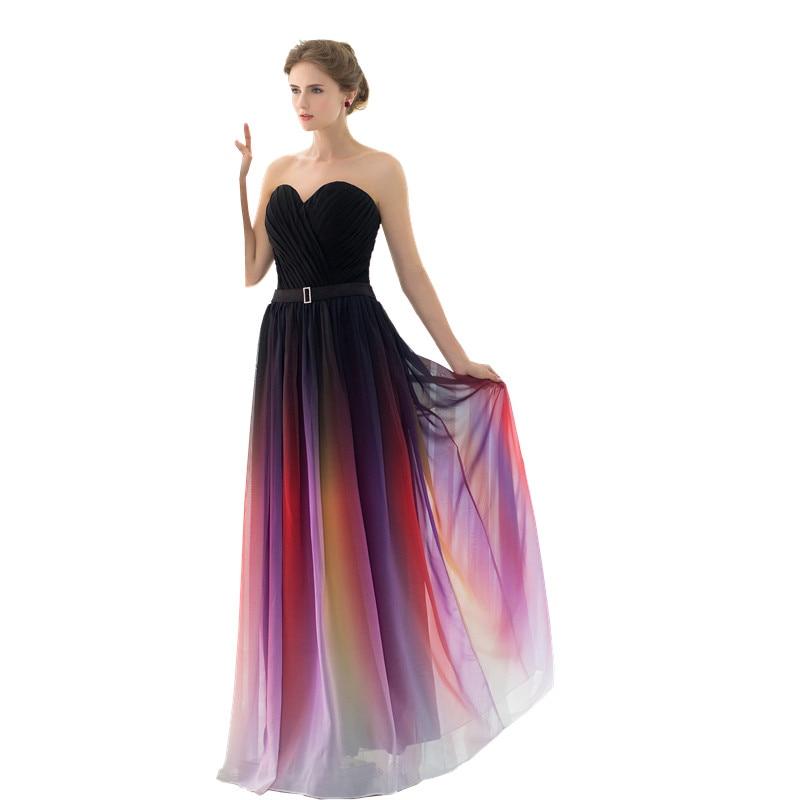 SHAMAI New Gradient Colorful Sexy Dresses Ombre Chiffon Prom Dress Evening Dress Strapless Pleats Women Formal Occasion Dress Платье