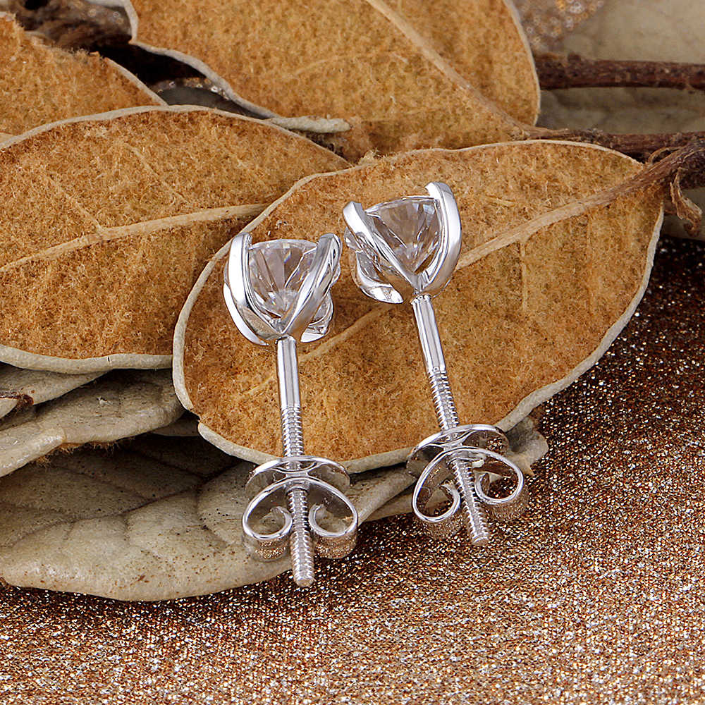 c8285b6f9 ... Transgems 14K 585 White Gold 1CTW 5mm 0.5 Carat Moissanite Diamond Stud  Earrings For Women Screw ...