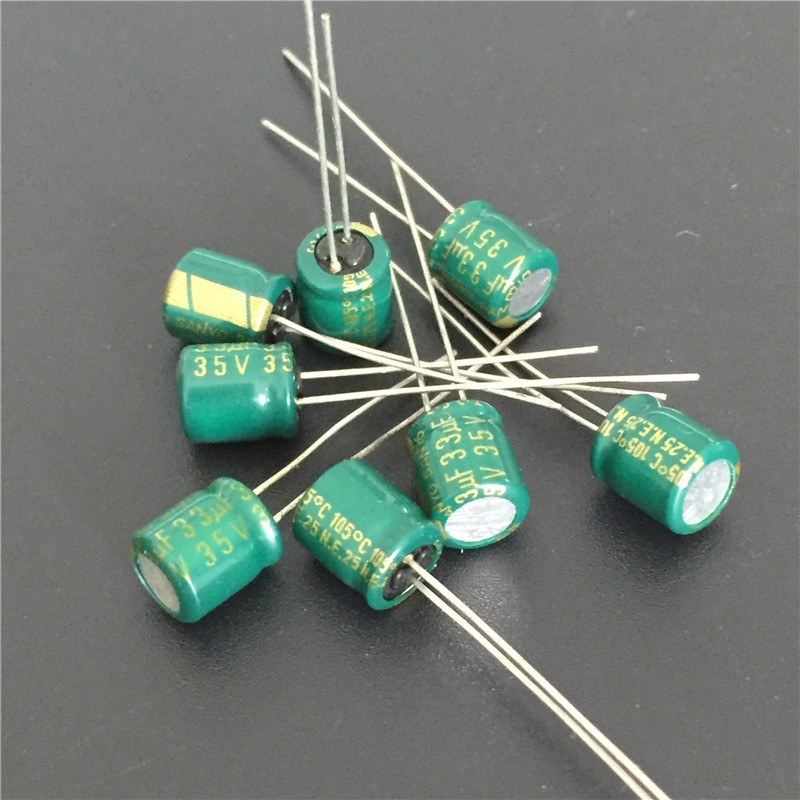 10pcs 33uF 35V SANYO 6x7mm Low Profile 35V33uF Aluminum Electrolytic Capacitors