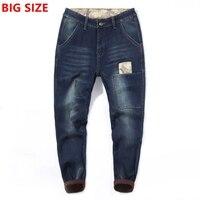 Большие размеры Интер новые мужские бархатные толстые джинсы мужской теплый Большие размеры шить большой человек Харлан ноги джинсы