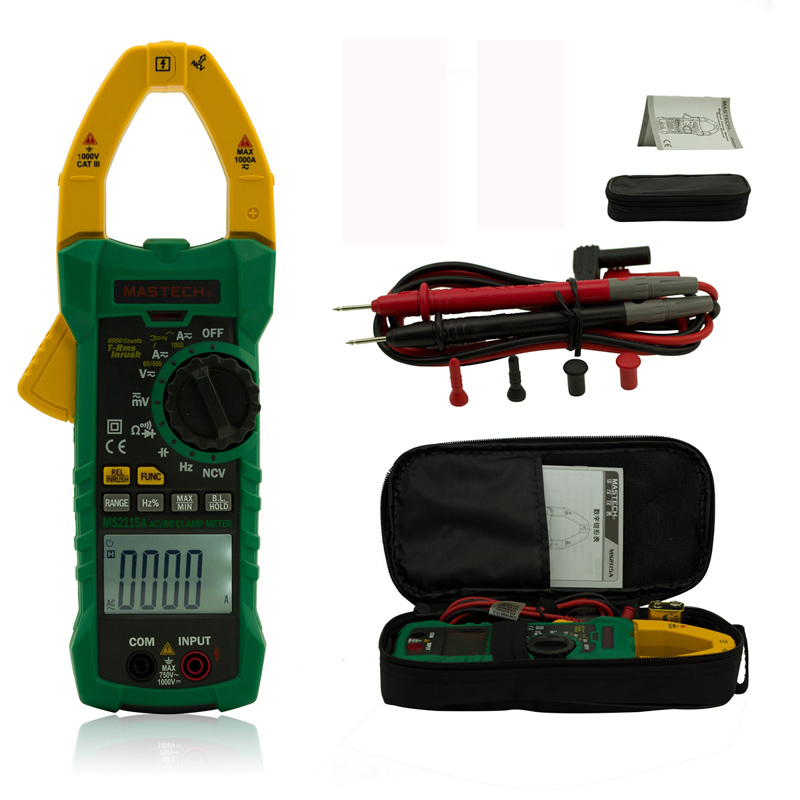 MASTECH MS2115A digital AC/DC 1000A Clamp Meters Multimeter True RMS Voltage Current Resistance Capacitance Tester 1 pcs mastech ms8269 digital auto ranging multimeter dmm test capacitance frequency worldwide store
