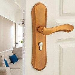 Drzwi ze stopu aluminium blokada drzwi z litego drewna uchwyt wnętrze drzwi do sypialni uchwyt blokady Klamki do drzwi    -