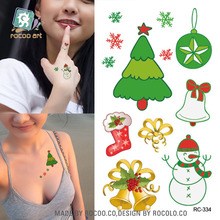 Body Art Waterproof Temporary Tattoos For Men And Women 3d Christmas Trees Design Small Arm Tattoo Sticker s RC2334