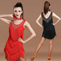 New 2017 Latin Dance Dresses Suits Women Girls Sexy Fringes Long Skirt Ballroom Tango Rumba Latin