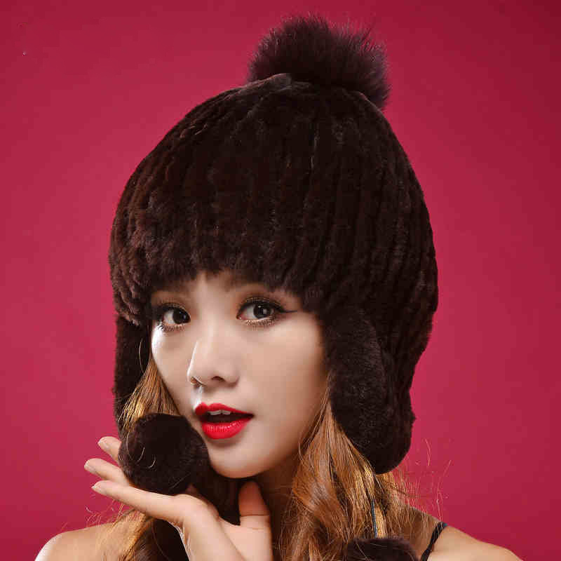 Factory Direct 100% Real Fur Hat For Women Winter Rex Knitted Rabbit Rur Hats Fashion High Quality Beanies Caps DL6070