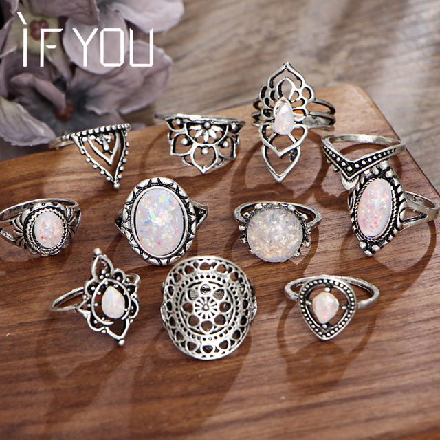 IF YOU Vintage Stone Opal Rings Set Bohemian Geometric Antique Silver Color Knuc