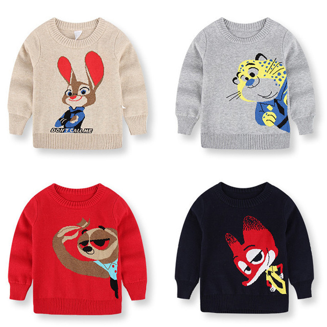 Autumn Winter Casual 2017 Kids Dobby Sweater Cotton Character Pattern Cartoon Boys Baby Sweaters Children Clothing For Boy