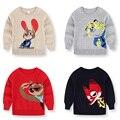 Otoño Invierno Suéter Ocasional 2017 Niños Dobby Algodón Patrón de Caracteres de Dibujos Animados Bebé de Los Muchachos Suéteres Ropa de Los Niños Para El Muchacho