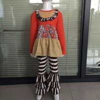 New Arrival Baby Fall Girls Sets Bib Boutique Floral Dress Top Children Cotton Brown Stripped Pants