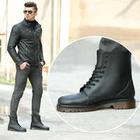 KESMALL ผู้ชาย PVC Rain Boots รองเท้า Lace-up รองเท้าบูทข้อเท้ารองเท้ากันลื่น Rainboots กันน้ำผู้ชายรองเท้า Botas WS287