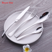 24 Pieces High Polished Stainless Steel Cutlery Set Knife Fork Spoon Teaspoon Royal Family Dinnerware Set