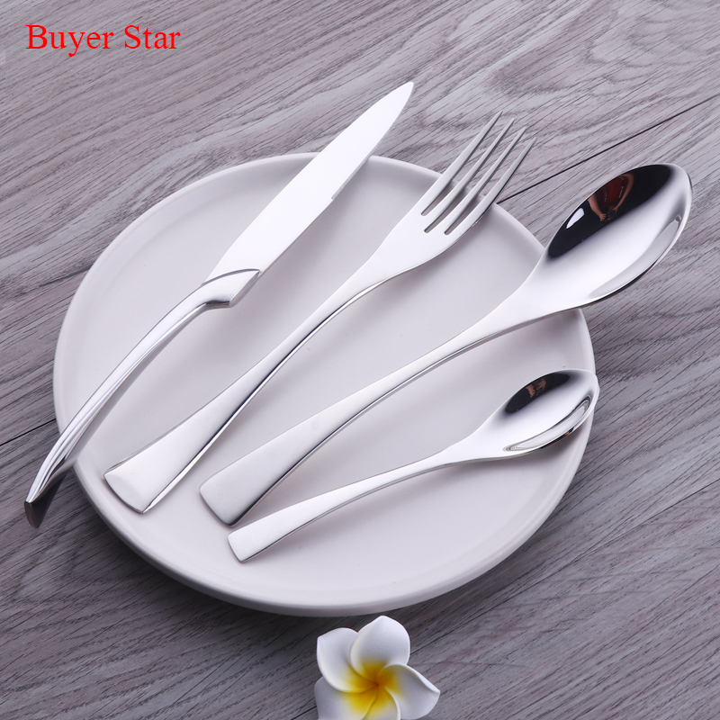 24 Pieces High Polished 18/8 Stainless <font><b>Steel</b></font> Cutlery Set Steak Knife Fork Set Royal Family Dinnerware Set Tableware