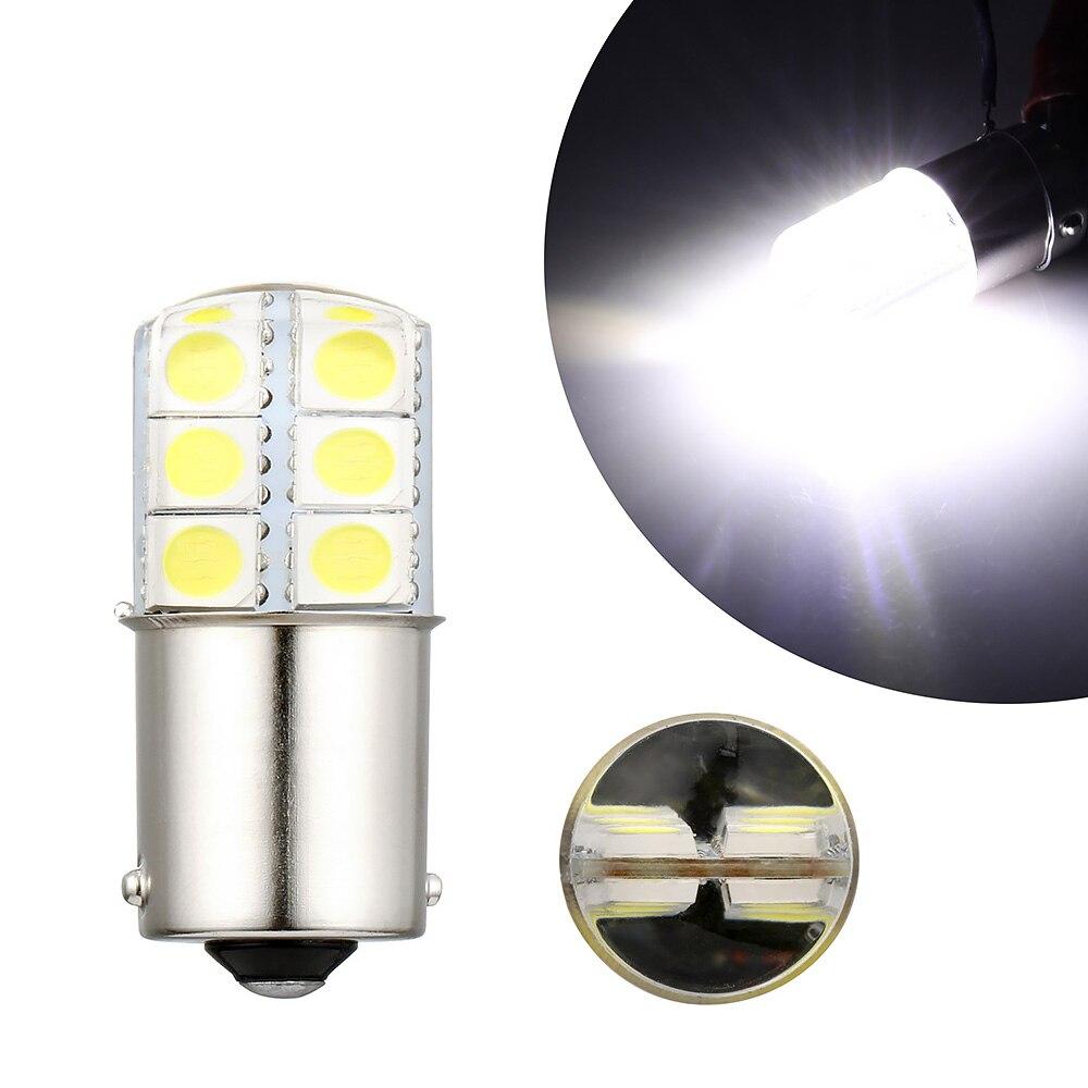 1 Uds S25 1156 BA15S p21w luces LED blancas 5050 12SMD gel de sílice DC12V luz de freno de estacionamiento trasera de coche bombilla de señal de giro