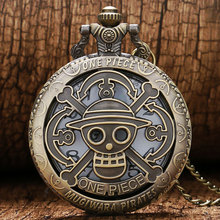 2017 Hot Cute One Piece Monkey Luffy Skull Pirate Anchors Hollow Quartz Analog Pocket Watch with Chain Necklace+Gift Bag