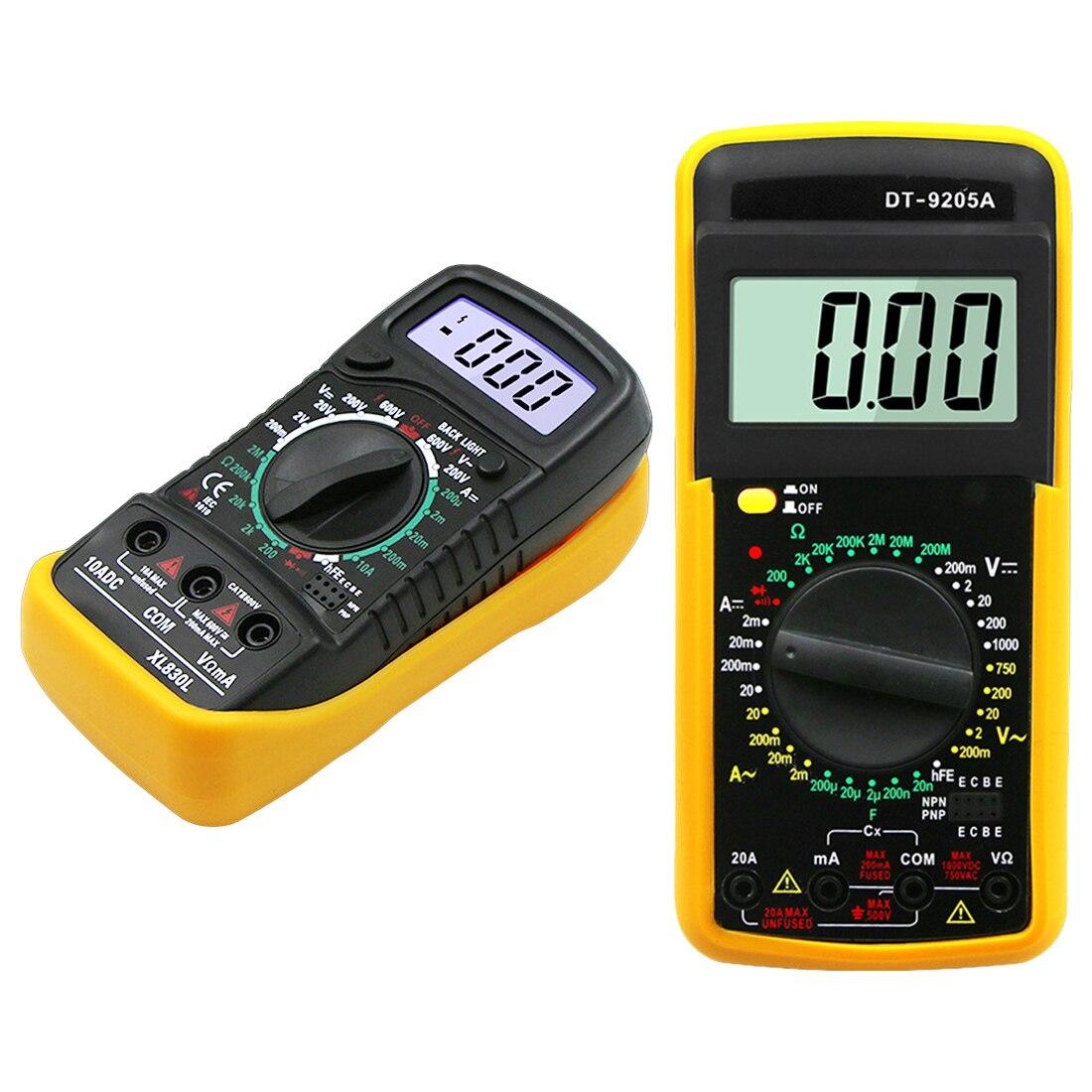 LCD Multimer Multimètre Numérique Rétro-Éclairage AC/DC Ampèremètre Voltmètre Ohm Testeur Compteur XL830L/DT-9205A De Poche