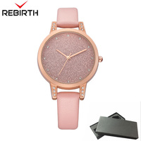 New REBIRTH Women Watches Casual Top Brand Luxury Quartz Pink Leather Clock Classic Business Female Rhinestone