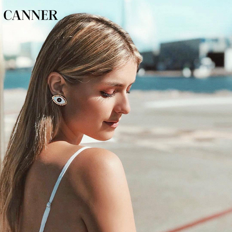 Canner 2019 New Gold Evil Eye Stud Earrings For Women Statement Fashion Jewelry