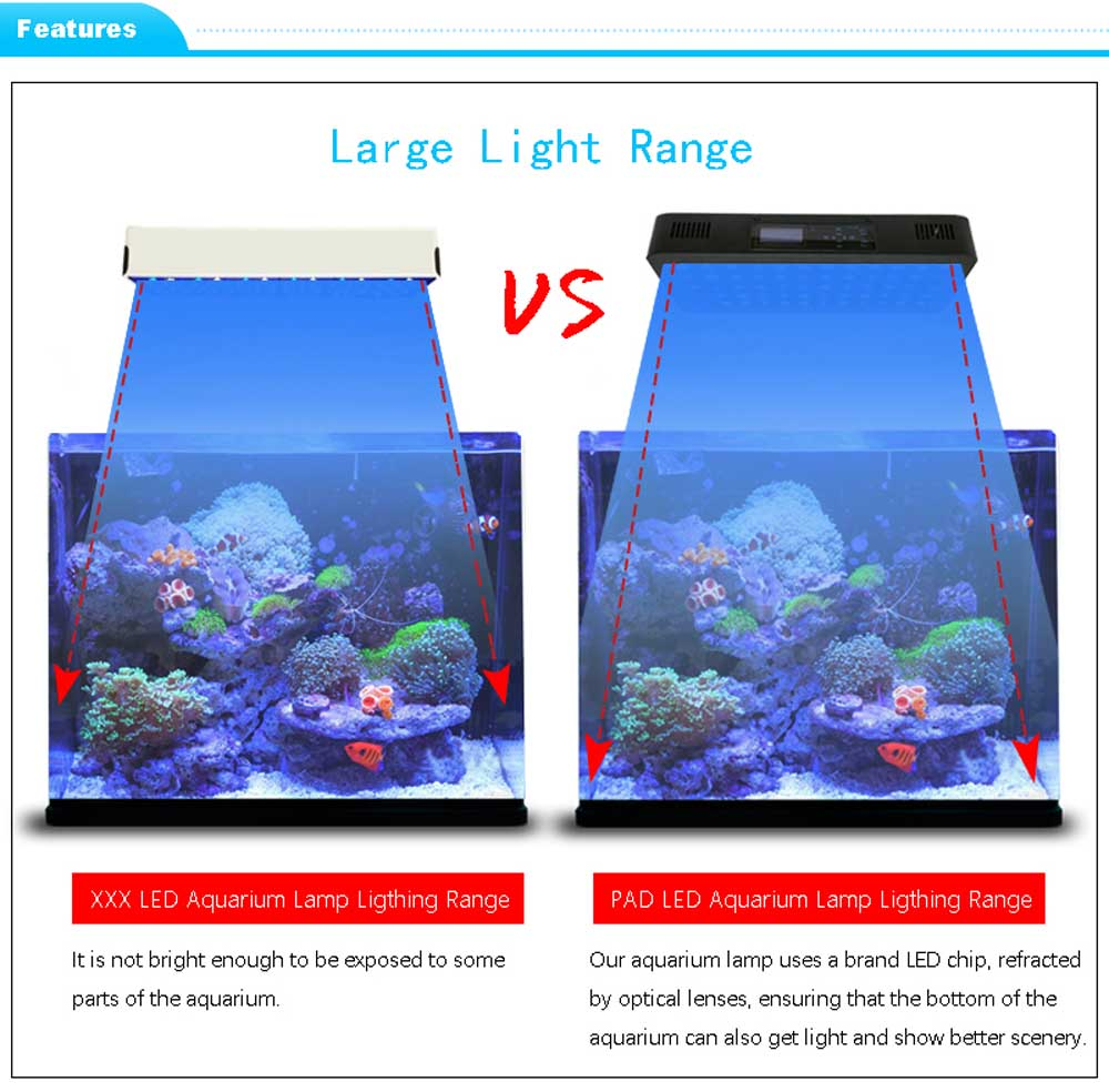 Remote or Touch control 180W LED Aquarium Light Timer Control Dimmable lamp Freshwater and Saltwater Coral Reef Grow Fish Tank (10)